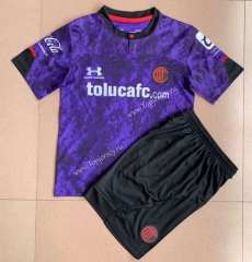 2021-2022 Deportivo Toluca FC 2nd Away Purple Soccer Uniform -AY