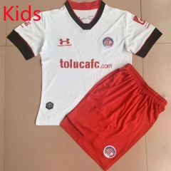 2021-2022 Deportivo Toluca FC Away White Kids/Youth Soccer Uniform -AY