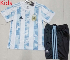 2021 Argentina Home Blue and White Kids/Youth Soccer Uniform-AY
