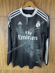 Retro Version 14-15 Real Madrid Black LS Thailand Soccer Jersey AAA-SL