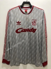 Retro Version 89 Liverpool Away Gray&White LS Thailand Soccer Jersey AAA-811