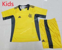 2021-2022 Flamengo Goalkeeper Yellow Kids/Youth Soccer Uniform