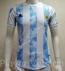 Player Version 2021-2022 Argentina Home Blue and White Thailand Soccer Jersey AAA-807