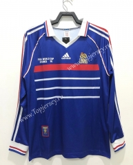 Retro Version 1998 France Home Blue LS Thailand Soccer Jersey AAA-811